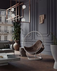Pearlescent white powder coated bubble chair with brown ostrich leather cushion in Paris apartment Bubble Chair, Paris Apartments, Hotel Lobby, Cushion Fabric, Automotive Design, Hanging Chair, Modern Interior, Bubbles, Powder