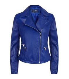 Armani Jeans Leather Biker Jacket available to buy at Harrods. Shop designer women's jackets online and earn Rewards point Riders Jacket, Moto Jacket, Colorful Leather Jacket, Tailored Jacket, Armani Jeans, Blue Motorcycle, Motorcycle Jackets, Outerwear Jackets, My Outfit