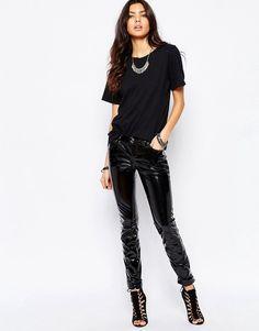 Tripp NYC Tripp Nyc Vinyl Skinny Trousers In Patent - Black