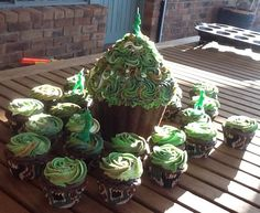 My creation: Harry's 9th birthday camouflage theme birthday cupcakes. Chocolate cupcakes, vanilla buttercream- very easy :)