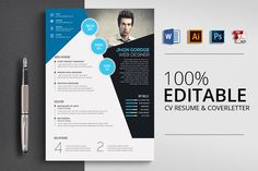 Ad: Resume CV Word Template by Psd Templates on CV/Resume Specification - CMYK Color Mode - 300 DPI Resolution -Size 3 mm bleed Features - Easily customization - Editable Text Resume Design Template, Cv Template, Creative Resume Templates, Psd Templates, Design Templates, Design Tutorials, Website Template, Business Brochure, Business Card Logo