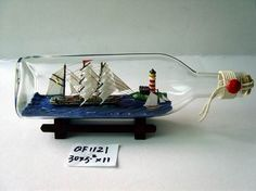 Bottle Ship (QF1121) Model Ships, Bottle Art, Boat, Furniture, Home Decor, Boats, Bottles, Concept Ships, Dinghy