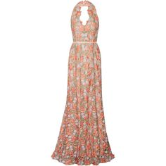 Marchesa Notte Lace halterneck gown ($710) ❤ liked on Polyvore featuring dresses, gowns, coral, grey dress, grey evening dresses, halter top, halter dress and halter evening gowns