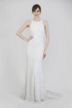 c719811e1fad Lena Horne style inspired wedding dress:Theia Bridal Couture Lenni,  Sleeveless cutaway jewel neck crunchy sequin gown with illusion cutout  back, ...