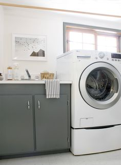 Laundry room update with @copycatchic & @lgusa Creating a chic gray laundry room on a budget and getting 2 washers for the price of 1 with the LG SideKick. #LGSideKick #ad