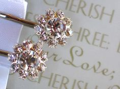 Bridal Bobbie Pins Flower Swarovski Crystal by NinaReneeDesigns, $45.00