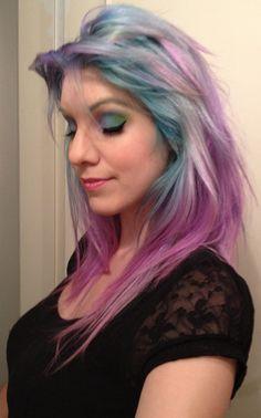 2012 rainbow eyeshadow makeup + rainbow hair