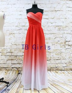 Sweetheart Gradient Color Chiffon Prom Dress Long by TBgirls
