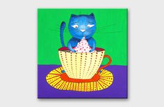 Acrylic painting Canvas art Cat painting Canvas painting for nursery Kitchen art Original painting Acrylic art Small painting Green purple