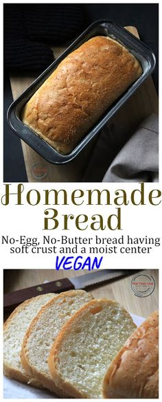 this Eggless Homemade Bread is totally egg-free, butter-free homemade breads having a soft crust and a moist center and perfect for beginners. Totally vegan also this is. Healthy Bread Recipes, Egg Free Recipes, Baking Recipes, Whole Food Recipes, Cookie Recipes, Vegan Recipes, Eggless Bread Recipe, Vegan Bread Recipe No Yeast, Egg Free Bread Recipe