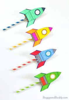 Straw Rockets- fun science activity for kids! (w/ Free Rocket Template)…