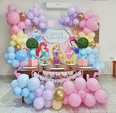 Princess Birthday Party Decorations, Disney Princess Birthday Party, 1st Birthday Party For Girls, Girl Birthday Themes, 5th Birthday, Princess Balloons, Prince Party, Mermaid Birthday, Princess Aurora Party