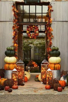 fall decor - really pretty - if we make the exterior doors look fancy, and the terrace, it will attract more attention