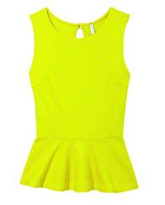 Neon peplum shirt, as featured in the September issue of #@Cosmopolitan #fall #fashion #peplum @lulusdotcom