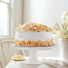 Coconut Cream Cake | Look for packaged coconut shavings in your grocer's natural foods section.