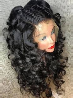 Medium Free Part Fluffy Curly Human Hair Full Lace Wig Afro Hair Style, Curly Hair Styles, Natural Hair Styles, Curly Wigs, Long Curly Hair, Curly Hair Sew In, Curly Perm, 4b Hair, Long Hair Wigs
