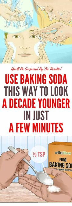 Use Baking Soda This Way to Look a Decade Younger in Just a Few Minutes - Schönheit About Baking Soda For Acne, Baking Soda Face, Baking Soda Uses, Baking Soda Shampoo, Baking Soda Nails, Younger Skin, Look Younger, Younger Looking Skin, Make Teeth Whiter