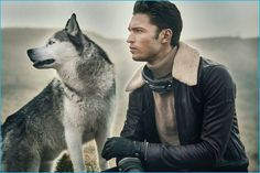 Harvey Haydon and his dog, Xavier are once again cast in the spotlight with a new editorial. This time around, Harvey graces the pages of Gentleman's Journal. Business Casual Men, Men Casual, Call Of The Wild, Man And Dog, Mens Attire, Europe Fashion, Shearling Jacket, Mens Gloves, Animal Fashion