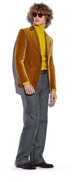 Bram Valbracht models a beige velvet sport jacket with a yellow cashmere…