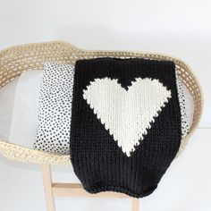 Black & White Heart Knitted Heart Baby Blanket