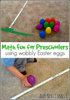 Math themed Easter activity for kids using wobbly Easter eggs from And Next Comes L
