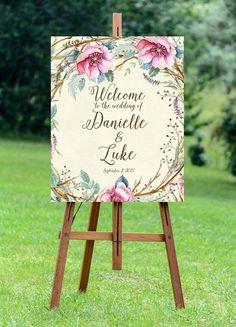 printable ivory wedding sign, welcome wedding sign, digital wedding sign, floral welcome sign, rustic wedding sign, 16x20, 24x30, you print