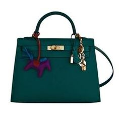 25075b0ca7b0 Celeb Fave Hermes 32cm Malachite Gold Sellier GHW Emerald Epsom Kelly Hermes  Handbags