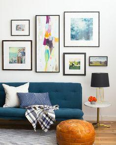 Living Room_Gallery Wall_Blue_Green_Dark_Emily Henderson_Etsy_Framebridge_Midcentury Modern_Blue Sofa