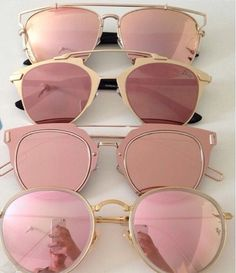 Rose-gold reflective shades.