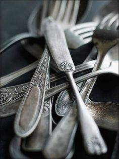 Begin as a young homemaker to collect random pieces of silverware. They'll last your whole life and you can hand them down to your children ~
