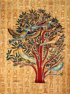 "Ancient Egyptian Art on Egyptian Papyrus. Unique Handmade Art For Sale at arkangallery.com | Title: ""Tree of Life Mural"" 