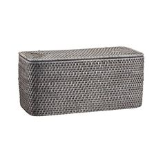 Shop Sedona Grey Lidded Rectangular Tote.  Rounded rectangle keeps a lid on toilet paper rolls or bathing sundries with loads of texture, handwoven of sturdy rattan and finished in warm grey.
