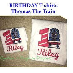 Custom Made Birthday T-Shirts  #custommade #embroidery #thomasthetrain #birthdaytshirt #octobertrip #babybirthday #cynthiascraftsinvirginia #matchingshirts #tshirts #yesbbb
