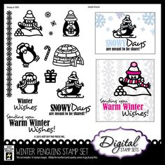 Digital Scrapbooking, Digital Stamps -Winter Penguins Digital Stamp Set by Hot Off The Press Inc (4006923)