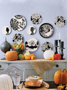 Must make a HomeGoods run for plastic blackwhite plates, black candle holders and to pet supply or JoAnn's for burlap