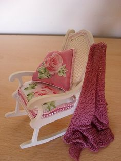Rocking chair by Jo Med    One of a new range of designer accent chairs in 1/12th scale, this shabby chic rocker will add a pretty focal point to your