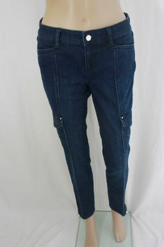 White House Black Market Blue Cargo Denim Pant With Crystal Embellishments Sz 0S