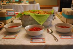Salsa Bar!  I like the place cards and bucket of chips.