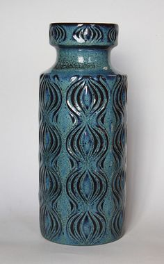 on the floor beside the side table Vintage Blue Floor Vase Scheurich 1970s