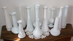 12 White Milk Glass Bud Flower Vases Wedding Shower Party Instant Collection