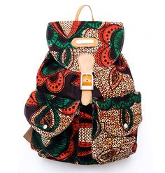 """Very edgy, this green ankara print fabric canvas shell with rich leather accents is a twist to your standard canvas backpack. A mix of vibrant African print meets """"The West"""" makes this bag your ultimate statement backpack bag. African Print Dresses, African Print Fashion, Africa Fashion, Fashion Prints, African Prints, African Lace, African Wear, African Fabric, African Women"""