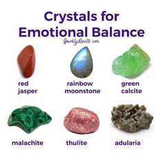 Crystals for Emotional Balance Gems And Minerals, Crystals Minerals, Crystals And Gemstones, Stones And Crystals, Gem Stones, Chakra Crystals, Chakra Stones, Gemstone Properties, Crystal Healing Stones