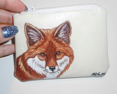 Red Fox Hand Painted Leather Coin Purse by daniellesoriginals