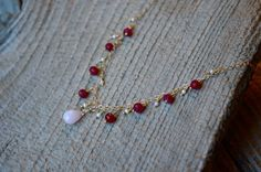 Pink Opal Necklace with organic rubies and freshwater pearls by Gewgaws & Gimcracks on Etsy #jewelry #gewgaws #Etsy #opal #necklace #ruby #pearl