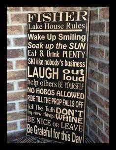 extra large lake house family rules subway sign by kspeddler