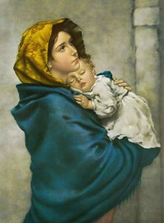 "One of the most beloved images of Our Lady, ""Madonna of the Streets"" depicts a youthful Mary holding the Child Jesus close to her heart. This hangs in our hallway Blessed Mother Mary, Blessed Virgin Mary, Religious Images, Religious Art, La Madone, Saint Esprit, Queen Of Heaven, Mary And Jesus, Catholic Art"