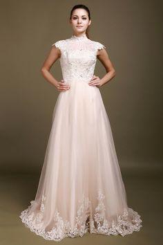 A-Line White Organza Chapel Train High Neck Wedding Dress -