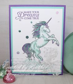 Playing with Papercrafting: Leave a Little Sparkle for a Monday Morning Unicorn Birthday Cards, Kids Birthday Cards, Unicorn Cards, Tarjetas Stampin Up, Stampin Up Cards, Horse Cards, Miss You Cards, Wink Of Stella, Animal Cards