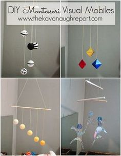 How to hang Montessori mobiles for infants. Easy ways to practically use mobiles in your home. Toy hanging bars for Montessori babies. Mobile Montessori, Montessori Bedroom, Montessori Classroom, Montessori Toddler, Montessori Activities, Infant Activities, Montessori Elementary, Maria Montessori, Mobiles