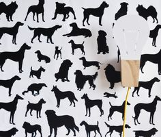 24 x 48 Dog Frenzy Removable wall paper tile by TheLovelyWall